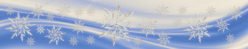 blue and white picture with snowflakes